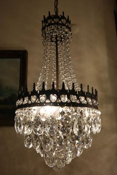 Antique Vintage French Basket Style Crystal Chandelier Lamp 1940s.12in in Antiques, Architectural Antiques, Chandeliers | eBay