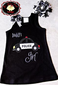 Police Car Daddy's Girl Dress and Bow Set by BowPeepandhersheep, $32.00