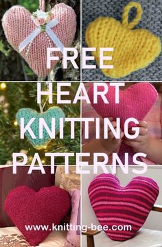 Spread the love with these amazing free heart knitting patterns. Knitting patterns for heart decorations, pillow, sachets and more! Christmas Knitting Patterns, Knitting Patterns Free, Free Pattern, Sewing Patterns, Sweater Patterns, Knitting Ideas, Stitch Patterns, Easy Knitting, Knitting For Beginners