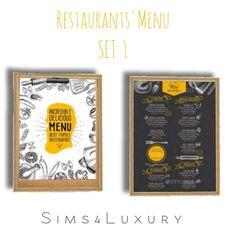 Sims4Luxury: Restaurants Menu set 1 • Sims 4 Downloads