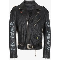 Balenciaga The Power Of Dreams Leather Jacket ($5,040) ❤ liked on Polyvore featuring men's fashion, men's clothing, men's outerwear, men's jackets, black, mens leather jackets and mens real leather jackets