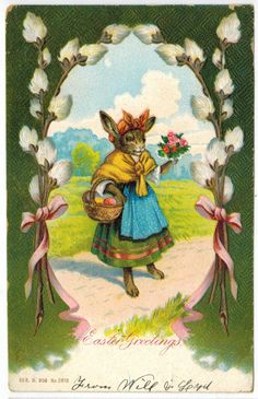 Antique Easter Fantasy Postcard Humanized Dressed Bunny Rabbit Eggs EMB DB 1907 in Collectibles, Postcards, Holidays | eBay