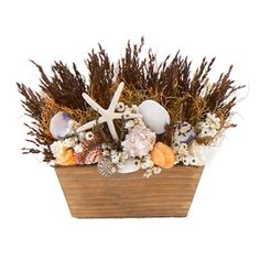 """Breezy Sunset 14"""" Seashell & Dried Floral Table Top Design"""
