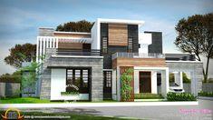 2729 sq-ft 4 bedroom flat roof modern house (Kerala home design) Site Web Design, Best Website Design, Website Design Inspiration, Design Ideas, Design Trends, Modern House Plans, Modern House Design, Rooftop Design, Kerala House Design
