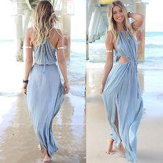 Sexy Women Summer BOHO Casual Long Maxi Dress Evening Party Beach Dress Sundress