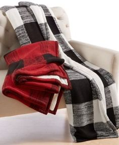 Closeout! Martha Stewart Collection Sweater-Knit Buffalo-Plaid Throw, Only at Macy's - Red/Black