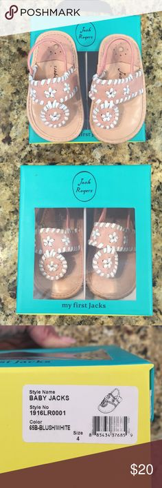 Baby Jack Rogers with box size 4 Precious Jack Rogers shoes for your little one. Worn by a walker. We outgrew and just need to size up! Jack Rogers Shoes Sandals & Flip Flops