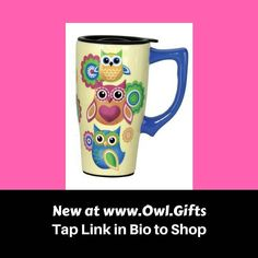 Whether you're traveling to work or just to the back yard this Owl Travel Mug will keep your favorite drink hot. TAP LINK IN BIO TO SHOP NOW at www.owl.gifts We have lots of fabulous gifts for owl lovers! .