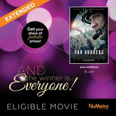Where will you be, and with whom, when you collect your scratch card for our 'The Winner Is...' competition?  'San Andreas,' now showing at Nu Metro Cinemas and starring Dwayne Johnson, is one of the exciting eligible movies in this competition, where EVERYONE'S a winner! San Andreas, Dwayne Johnson, You Got This, Competition, Goodies, Cinema, Cards, Movie Posters, Sweet Like Candy