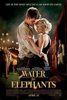 Water for Elephants - Really liked this one, even with Robert Pattinson as a lead. Not sure he and Reese Witherspoon had the best chemistry, but I liked the movie. Hard to argue with a film that has a lovable elephant that steals the show. Elephant Book, Elephant Poster, See Movie, Movie Tv, Movie List, Book Tv, The Book, Water For Elephants, Chick Flicks