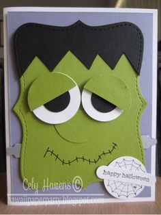 SALE - 40% OFF Handmade Greeting Card Happy Halloween Frankenstein Stampin Up. $3.60, via Etsy.