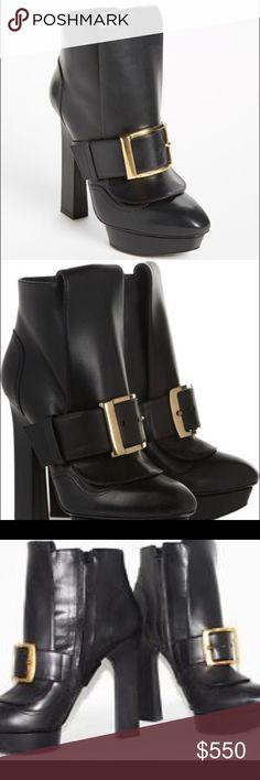 "Alexander McQueen Buckle Boots Black, leather platform boots with side zipper. Gold-tone oversized buckle detail. Alexander McQueen. Slightly worn. Have box and dust bag. Heels: 5.25"" Platform: 1.25"" Alexander McQueen Shoes Heeled Boots"