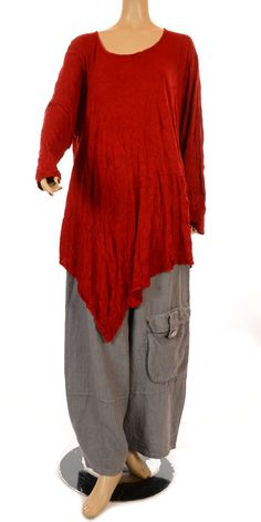 Barbara Speer Winter Red Long Sleeve Asymmetric Tunic-Barbara Speer, lagenlook, womens plus size UK clothing,   The pants are a little droopy for me but love the top.