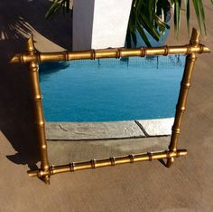 """Vintage Large 31"""",  Gold Gilt Bamboo Mirror, Chinoiserie, Hollywood Regency, Mid Century, Asian, Statement Wall Mirror by YellowHouseDecor on Etsy https://www.etsy.com/listing/540904895/vintage-large-31-gold-gilt-bamboo-mirror"""