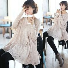 Maternity Lace Dresses Clothes For Pregnant Women Spring Clothing Long Sleeve One Piece 2014 New