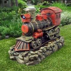 """26"""" Red Train Fountain with Fogger and LED Lights from Alpine"""