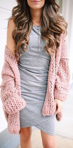 #fall #outfits women's gray sleeveless midi-dress #OverSizedSweaters and Midis are lyfe!