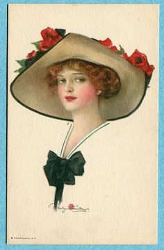 Stanlaws postcard of woman with red roses on hat