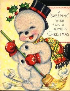 Sweet snowman vintage xmas card.