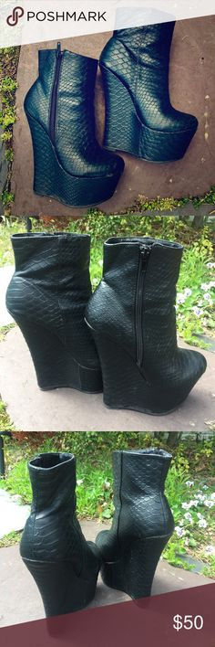 "Sky High Black Booties Attention shorties!!!  These black pleather booties are 6"" high with a 2"" platform. Snake skin design. Zippers on the outside. The shoe says 6.5 but they fit like a 6. These booties add ""WOW"" to any outfit and you get compliments the whole time while wearing them. Brand is actually Sophia&Lee, listed as Sophia Webster for views. Just a few standard scuffs but nothing super noticeable. Other than that, still in good condition! box not included. Make an offer! Sophia…"