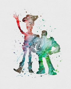 Woody and Buzz Splatter Art