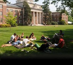Davidson College Students on Chambers Lawn