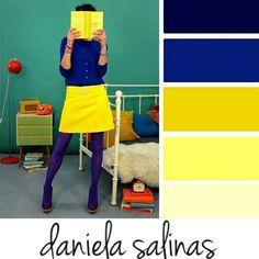 Blue and yellow Colour Combinations Fashion, Color Combinations For Clothes, Color Blocking Outfits, Fashion Colours, Colorful Fashion, Colour Pallette, Colour Schemes, Color Trends, Color Combos