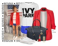 """""""Red, White, and Blue #beyonce"""" by karen-of-abog on Polyvore featuring Ivy Park, River Island, MICHAEL Michael Kors, Converse, Panacea and Estée Lauder"""