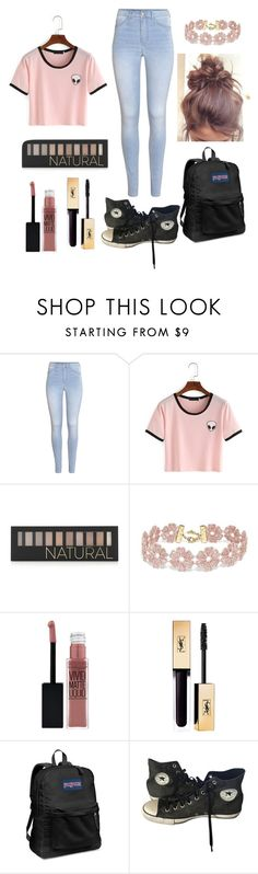 """Average day at school"" by halleanderson06 ❤ liked on Polyvore featuring H&M, Forever 21, BaubleBar, Maybelline, JanSport and Converse"