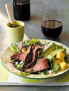 Beef, Mango & Avocado Salad, all amazing flavorful ingredients