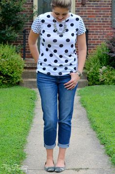 Casual weekend look - print mix camo and polka dots