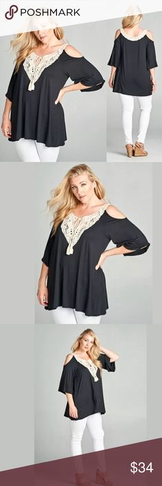 Plus Open Cold Shoulder Crochet Boho Tunic NEW Featuring a gorgeous plus size black open shoulder lace patch tunic top with matching tassel. Pretty ivory crochet lace detail accentuates the neckline. Super soft rayon material. Sexy open cold shoulder trendy style. Loose fit with a little bit of a longer flowly tunic length.   Made of: 95% Rayon & 5% Spandex Tops Tunics