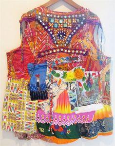 ORANGE SUNRISE Collage Clothing Wearable Fabric Art -Artsy Eclectic - MyBonny