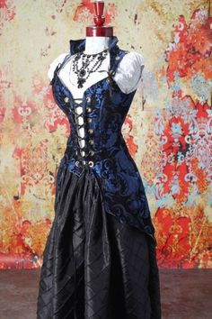 Waist Blue and Black Medallion Pirate Coat Steampunk Clothing, Steampunk Fashion, Gothic Fashion, Medieval Costume, Medieval Dress, Pirate Garb, Pirate Cosplay, Fancy Dress, Dress Up
