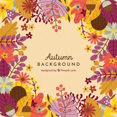 Autumn background with colorful leaves Free Vector Autumn Illustration, Graphic Design Illustration, E Flowers, Pastel Art, Illustrations And Posters, Four Seasons, Drawing, Vector Free, Diy And Crafts