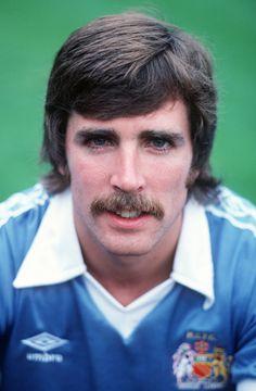 24 July 1979 - Manchester City Photocall - Paul Power of Manchester City - . Get premium, high resolution news photos at Getty Images Manchester City, British Football, Sports Stars, Football Shirts, Kicks, Clock, News, Photos, Men