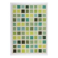 Green Cubism Wool Rug