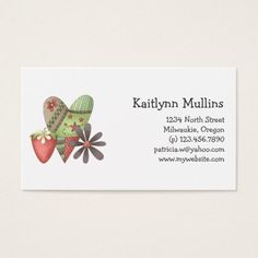 Welcome Spring Heart Strawberry Flower Business Card
