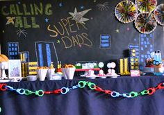 Celebrate your Super Dad with this creative Fathers Day Lunch idea. Fathers Day Lunch, Fathers Day Photo, Cool Fathers Day Ideas, Daddy Day, Big Daddy, Cool Mom Picks, Superhero Party, Superhero Ideas, Superman Party