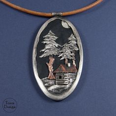 Big pendant - At the forest clearing. Handmade with silver, copper and leather. Hanged on a strap. Strap length: approx. 51 cm. I can change