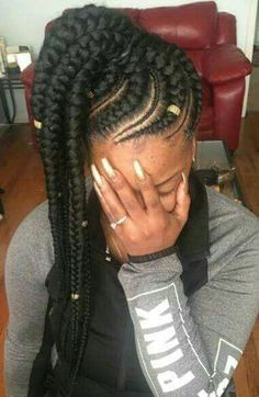 Side Bun with Double Loose Braid - 40 Two French Braid Hairstyles for Your Perfect Looks - The Trending Hairstyle Shaved Side Hairstyles, Braided Ponytail Hairstyles, Braided Hairstyles For Black Women, African Braids Hairstyles, Girl Hairstyles, School Hairstyles, Updo Hairstyle, Everyday Hairstyles, Wedding Hairstyles