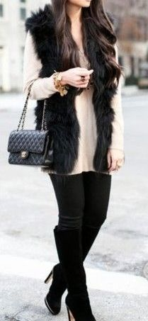 Faux fur vest in black