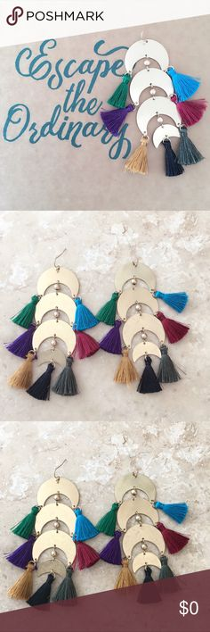 Brand new!  Moon Metal Tassel Dangle Earrings Brand new!  Moon Metal Tassel Dangle Earrings  • Size :0.8 X 3.6 approx. • Fishhook  FREE WITH PURCHASE: Cute organza drawstring pouch for storage or for gifting.  🛍Bundle & Save!! 10% 2 items 15% 3+ items Jewelry Earrings
