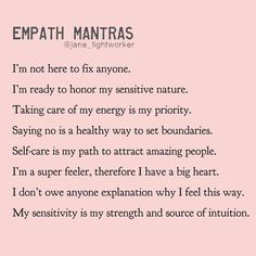 Take what you need ❤️ Which mantra resonates with you today? Join Empath Healing Online Workshop to learn how to become an empowered… Intuitive Empath, Empath Traits, Self Care Activities, Daily Affirmations, Self Improvement, Self Help, Self Love, Life Quotes, Quotes Quotes