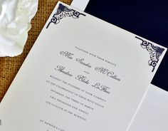 Traditional Navy Wedding Invitations Suite - Art Deco Corners. $2.50, via Etsy.