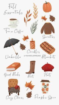 Herbst Bucket List, Fete Halloween, Halloween Poster, Doodles, Autumn Illustration, Autumn Cozy, Autumn Fall, Autumn Aesthetic, Hello Autumn