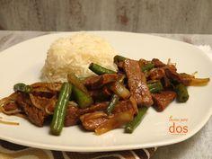Salteado de Res (estilo chino), con un toque sabor asiático.