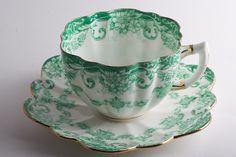 paragon teacup, tea time, 1908 teacup, english teacup, emerald, green paragon, 1908 paragon, shades of green, china