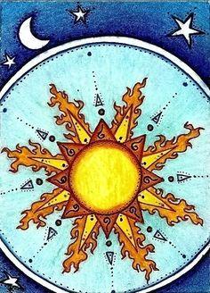 Astrology: Sun and Moon. Sun Moon Stars, Sun And Stars, Good Day Sunshine, Hello Sunshine, Celestial Sphere, Golden Sun, Sun Art, Moon Design, Psychedelic