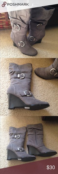 Beautiful grey boots Size 6.5 Worn only once. Great buckle accents. Shoes Heeled Boots